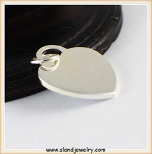 solid large blank 925 sterling silver heart plate pendant,popular handmade bling charm jewlery made in China