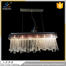 Rectangular Chandelier Clear Crystal Rain Drop Pendant Lamp for Dining Room