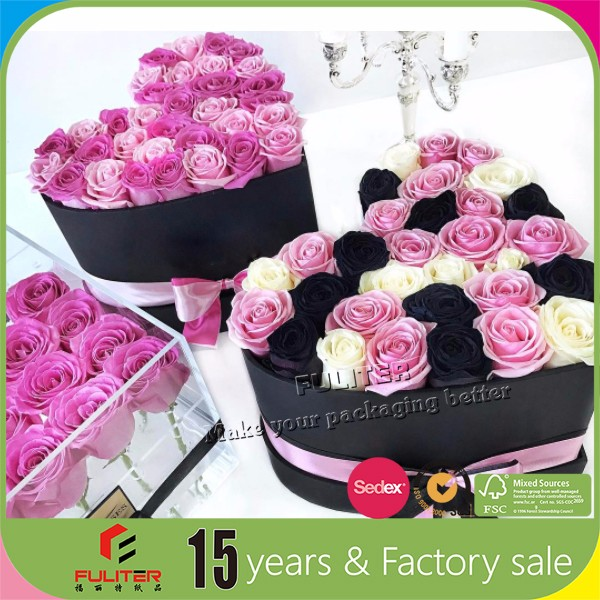 Custom heart shape flower gift boxes wholesale with foam