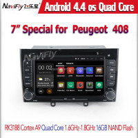 "Peugeot 308 408 HD 1024*600 7"" Quad Core Android 4.4 Car DVD with 3G WIFI Radio GPS Navigation RK3188"
