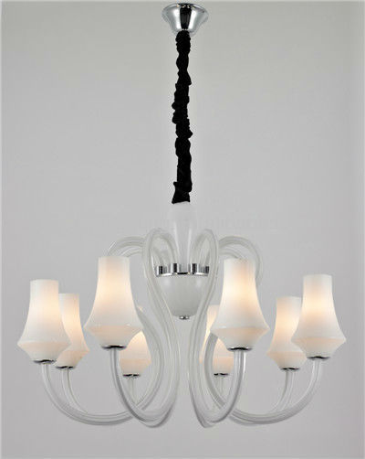 8 heads flower shape lamp holders Tiffany style white glass chandelier