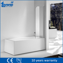 Modern design Tenne 6mm sigle glass bath screen 1 fixed 1 open shower panel