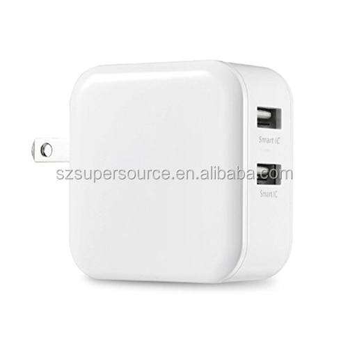 Wholesale price dual usb wall charger 4.8a 5v smartID technology US foldable plug adapter