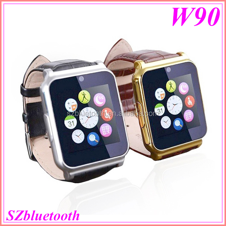 "1.5"" touch screen HD camera MP3 MP4 bluetooth TF slot low price wholesale smart wrist watch mobile phone W90"