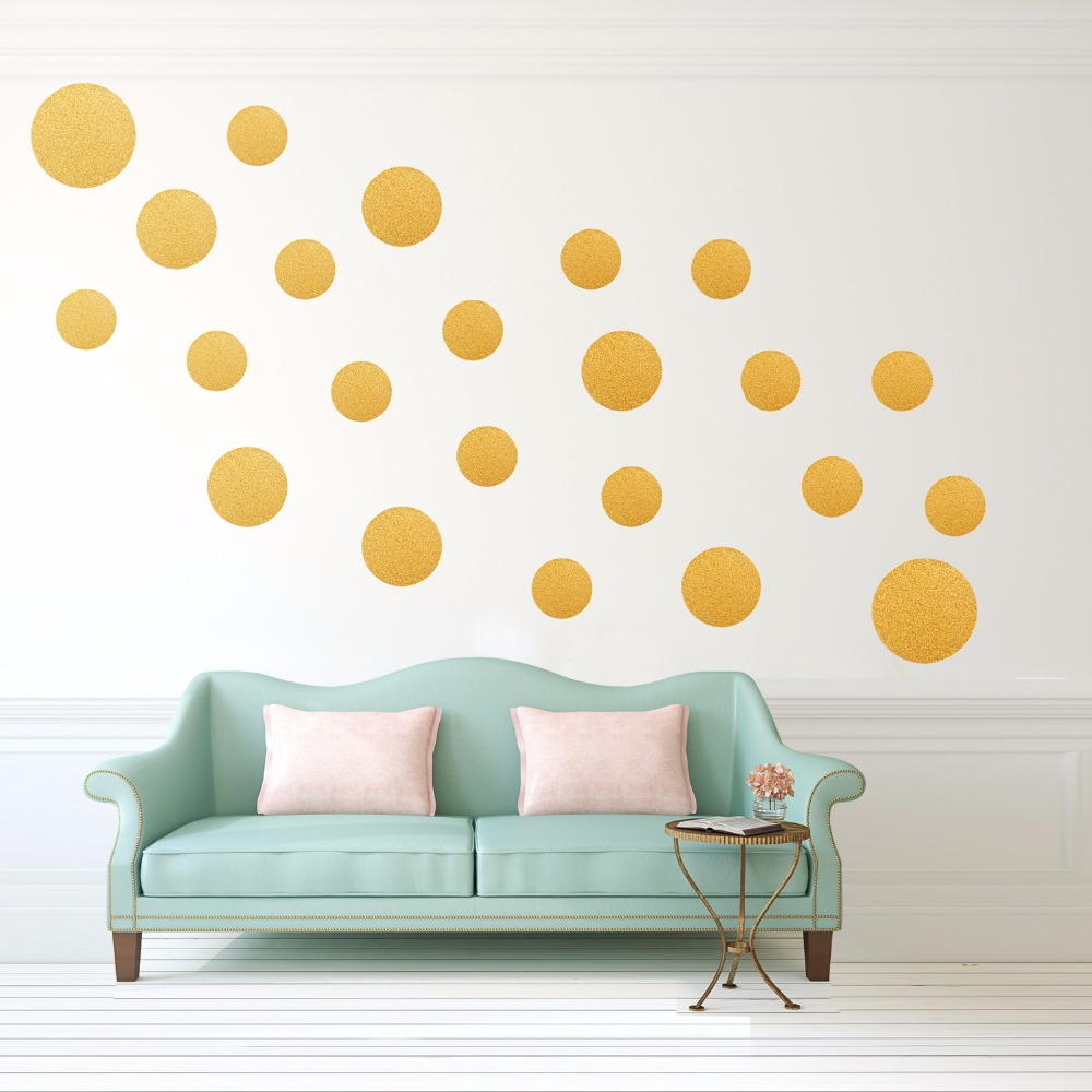 Wholesale Removable Gold Polka Dots Wall Decals Metallic Polka Dots Wall Stickers Home Decor Christmas stickers