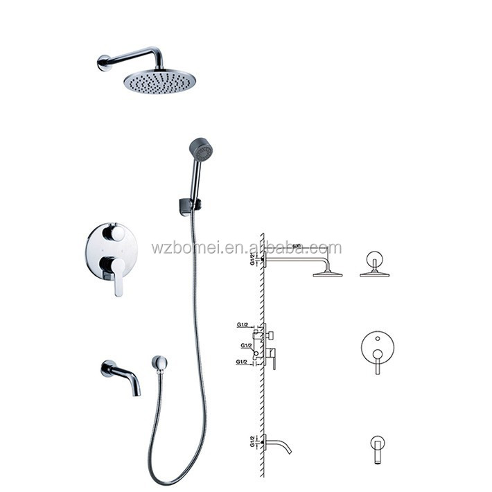New arrival Wall Mount Concealed bath& Mixer Upc Shower Faucet