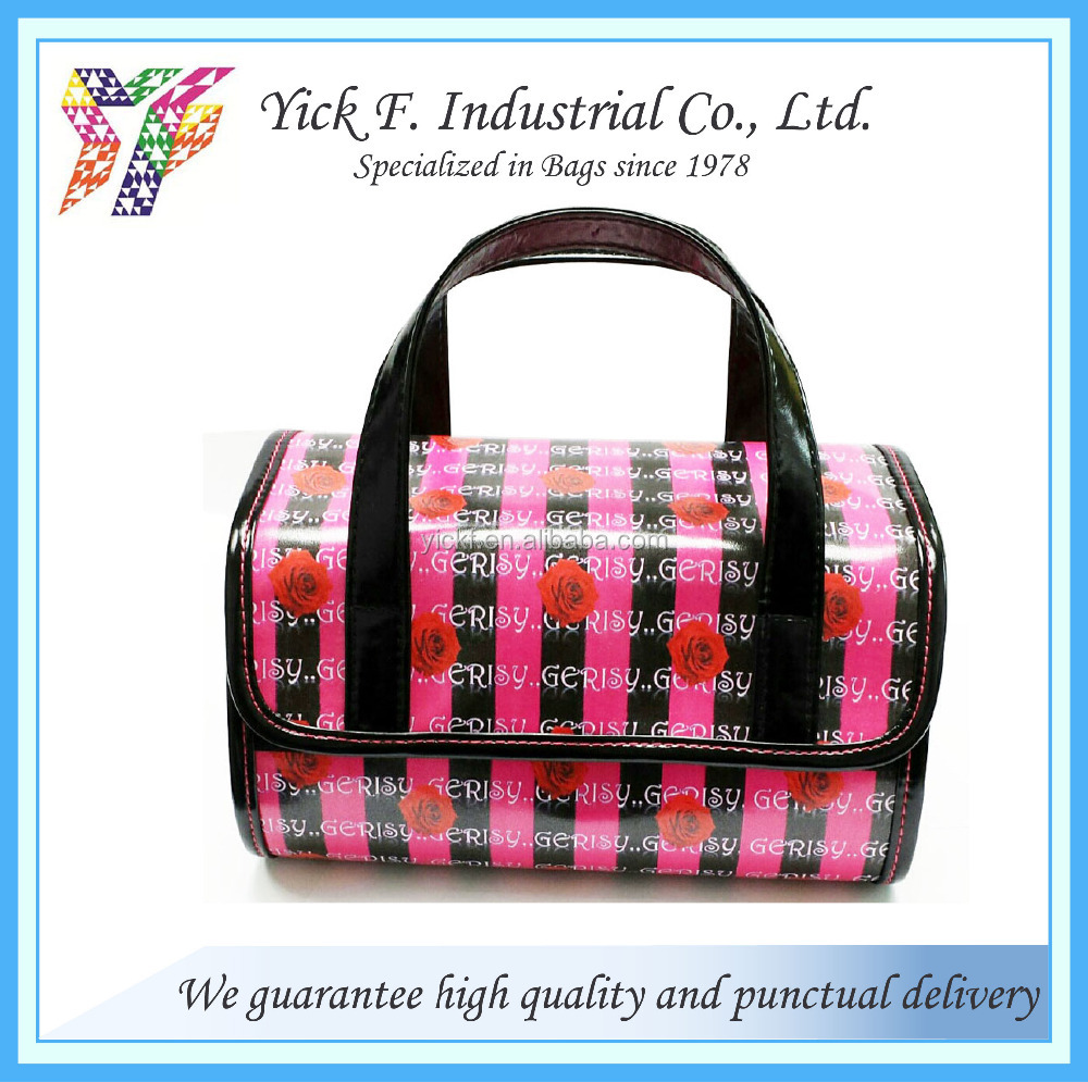 Rose digital printing PU leather cosmetic bag with multiple zipper pockets