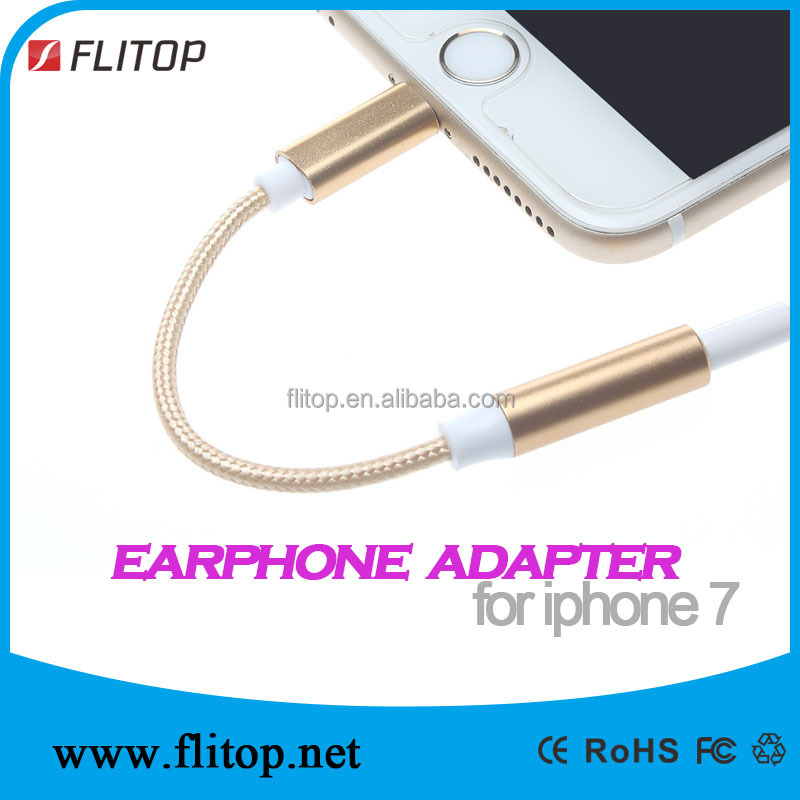 Hot Sale For Iphone 7 To 3.5mm Earphone Adapter With Aluminum Cover Case and braided cable