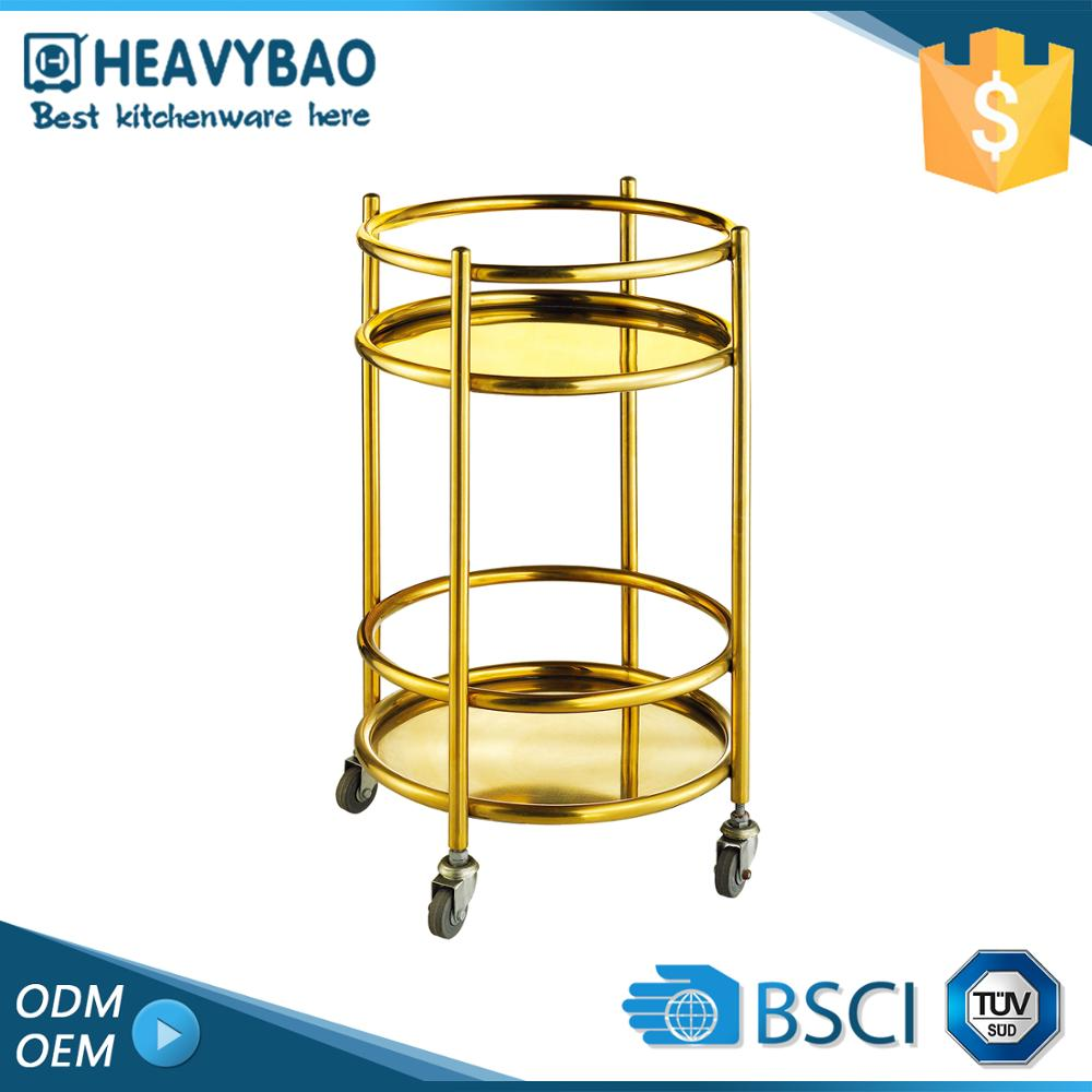 Stainless Steel Knocked-down Serving Bar Cart Furniture Tea Wine Designs Round Gold Drinks Trolley