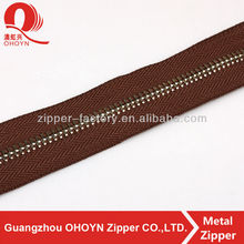 fast delivery wholesale brown tape custom length color metal zip for cloth and bag