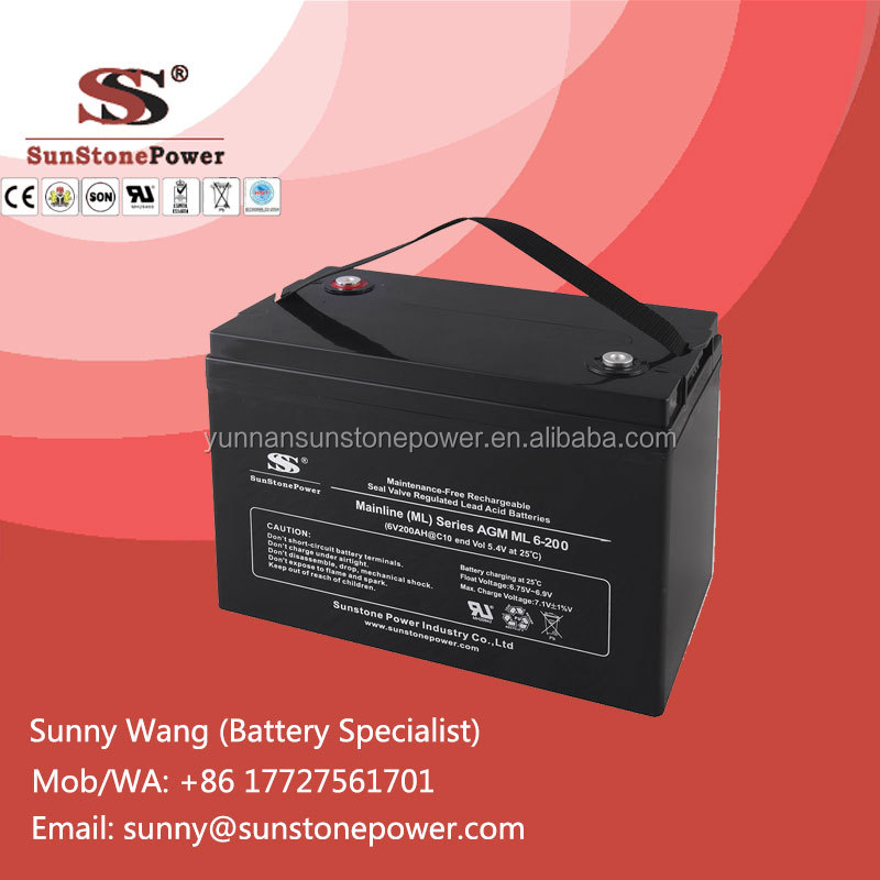 AGM Type 6Volt 220AH Deep Cycle Rechargeable Sealed Lead Acid VRLA UPS Battery