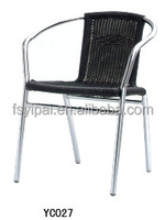 outdoor aluminum rattan stacking chair with arm YC027