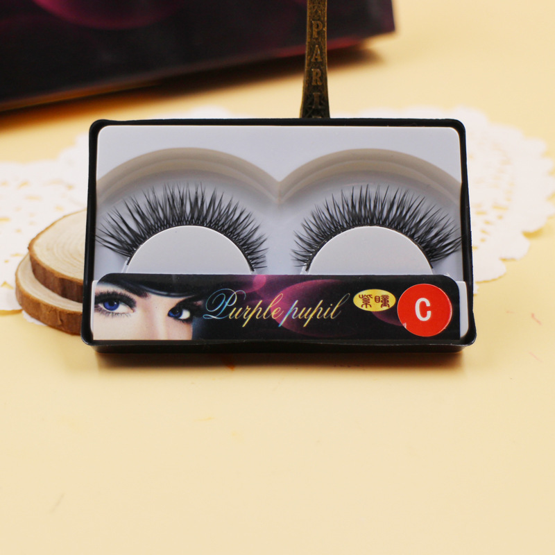 Cotton stalk manual false eyelashes eye tail lengthened natural eyelashes thick cross section of single box type C