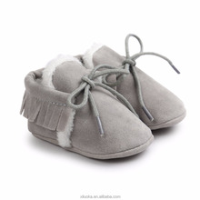 Winter soft sole baby toddler fur shoes sheepskin boots