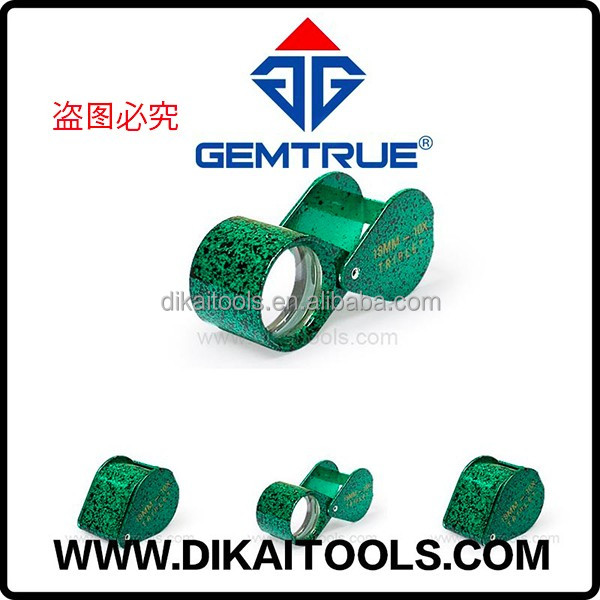 Stylish black and green 10x triplet 18mm achromatic loupe by GemTrue