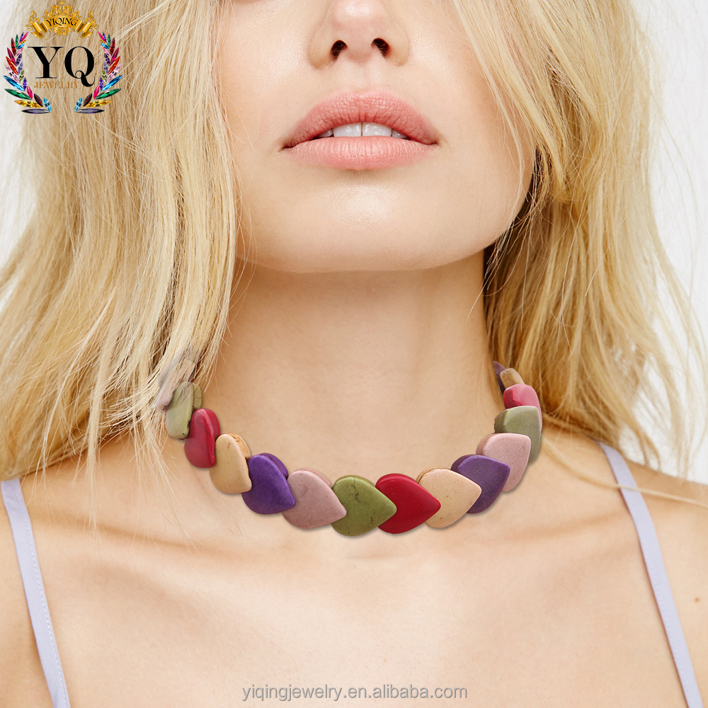 NYQ-00968 colorful turquoise stone choker necklaces set heart choker necklace and expandable elastic heart bracelet dyed stone