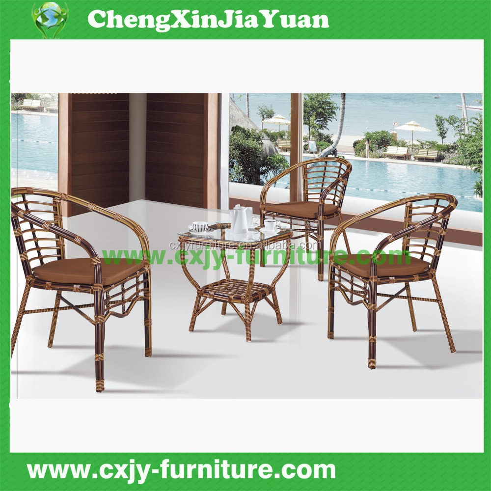 bamboo look imitation rattan chair and table /green rattan chair
