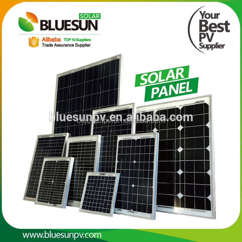 Bluesun mono poly 20w 30w 50w 60w electric solar panel