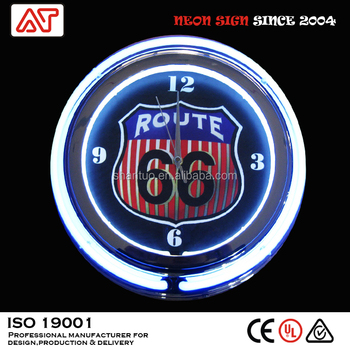 Route 66 double ring neon wall clock ( 15 inch diameter )