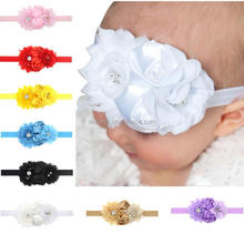 New Baby Rhinestone Pearl Headbands Elastic Hairband Baby Girls Shabby Rose Flowers Headbands Kids Hair Accessories