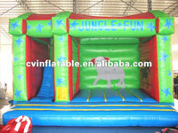 high quality commercial inflatable jungle fun cartoon animal jumper combo with slide