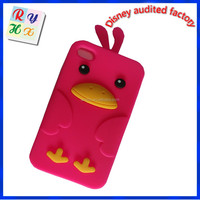 Fashion design lovely bird silicone phone case, cartoon 3d mobil phone case custom design cartoon mobile phone cover