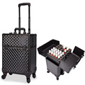 small 4 wheel spinner rolling cosmetic makeup trolley case