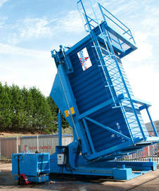 container tilter for 20 ft and 40 ft sea containers