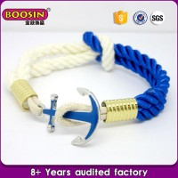 OEM custom made blue rope charm anchor bracelet hand chain for men