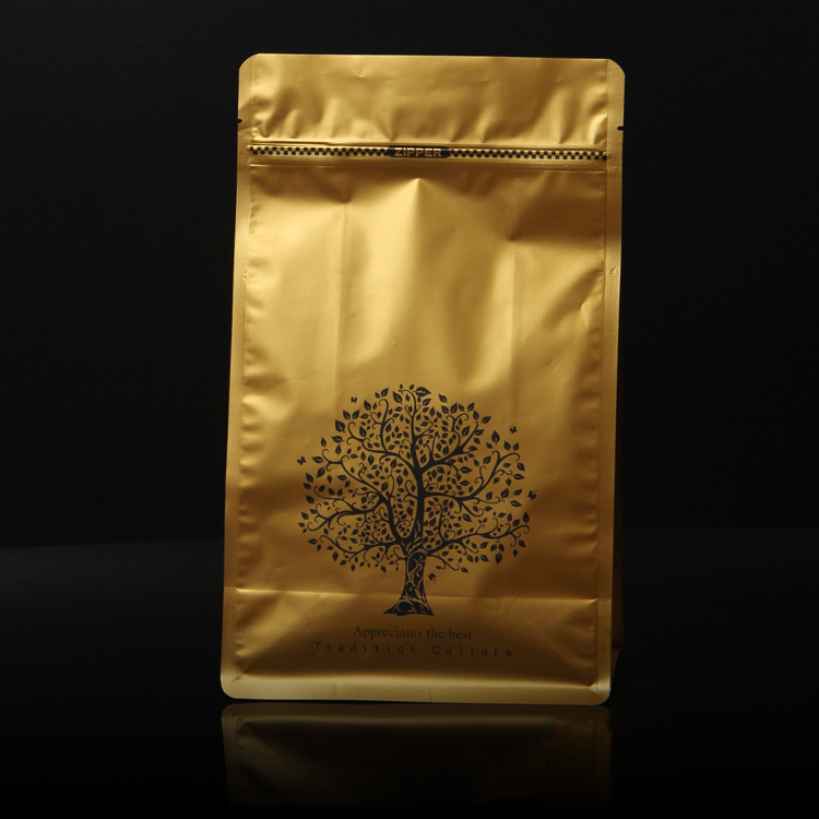 Flat bottom ziplock aluminium foil coffee packaging bags with valve