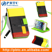 Set Screen Protector Stylus And Case For Iphone 5 , Luxury Leather Flip Case