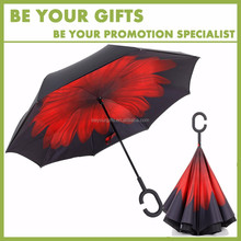Popular Promotional Custom logo C handle inside out double layer inverted windproof car umbrella