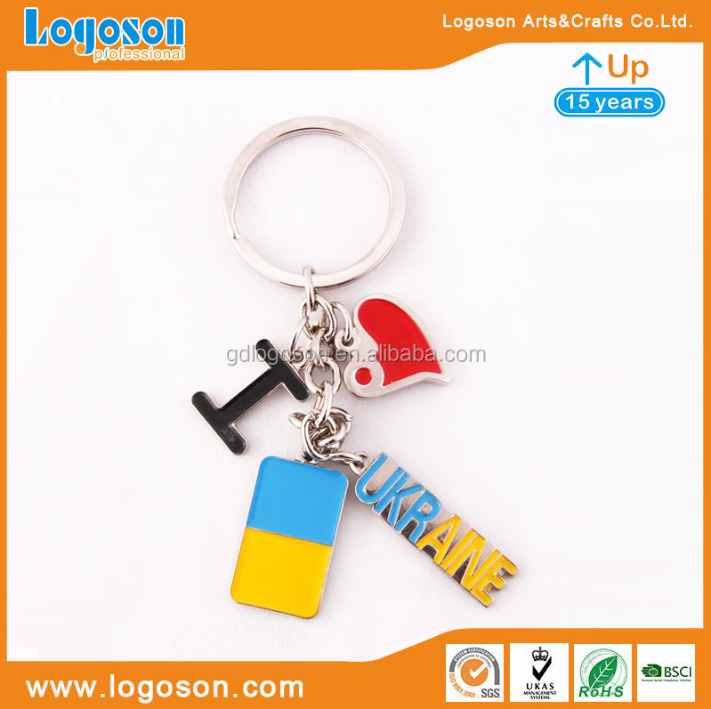 Wholesale Souvenirs Promotional Keying Maker Zinc Alloy Split Ukraine Flag and Emblem Pendant Keyrings Custom Shape Keychain
