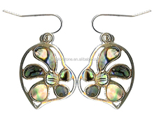 Flower in heart shell earring New Zealand flower paua earrings Shell earring with heart