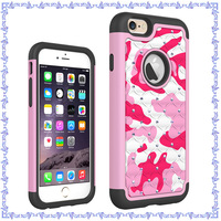 Wholesale camouflage pattern cases cover for Apple iPhone 6 with diamond
