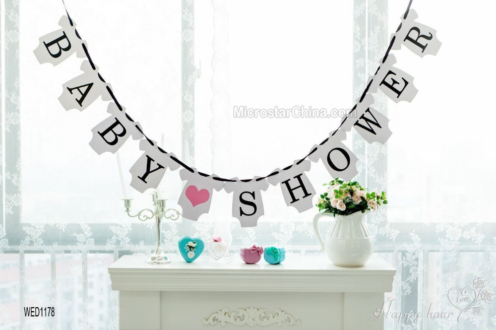 BABY SHOWER Banner Baby Shower Photo Prop Sign Hanging Bunting Garlands