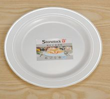 "10.3"" disposable plastic plate with silver rim by hot stamp"