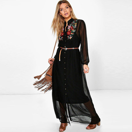 Women Tops Fashion Stand Collar Long Sleeve Floral Embroidered Dipped Hem Spring Black Vintage Blouse