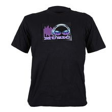 express promotion lighting el t-shirt led sound activated t-shirt