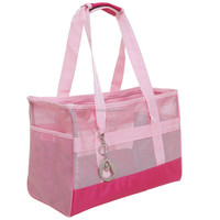 Pink Colour Soft Mesh Sided Dog and Cat Travel Pet Carrier Pet tote