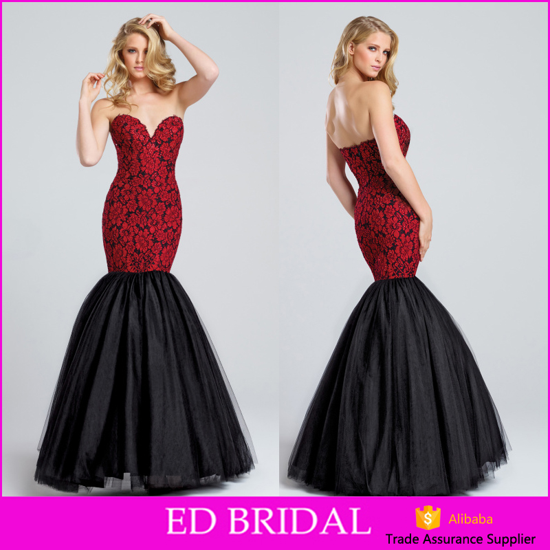 Hot Sale Lace Tulle Mermaid Red And Black Long Evening Dress