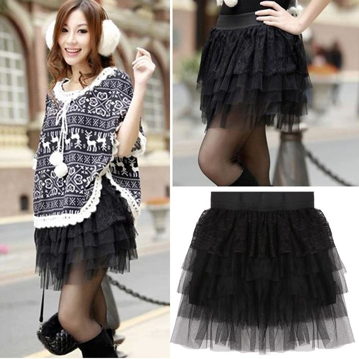 Women Casual Black Skirt Fashion Layers Skirt Lace Mesh Mini Skirt