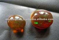 Natural Ethiopian Opal Brown With Fire Plain Oval Loose Gemstone