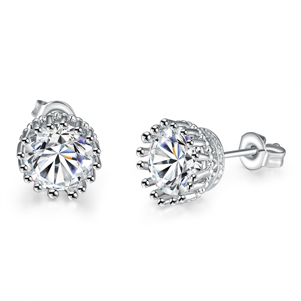 High quality women's fashion earrings AKE4 classic look design with Crystal white gold plated Silver Earrings