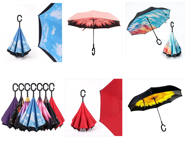 2017 new hook handle folding inverted umbrella windproof for two