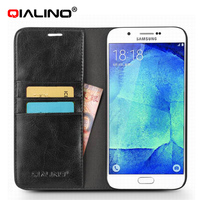 QIALINO Handmade Cow Leather Mobile Phone Accessory Flip Leather Case Cover For Samsung A8
