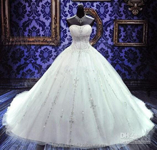 Real Sample Sweetheart Embroidered Lace Up Wedding Dresses 2015 Ball Gown, Wedding Dresses For Fat Woman