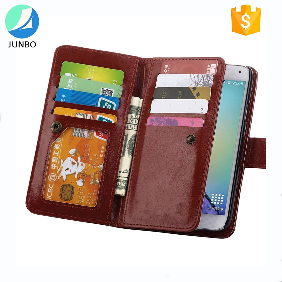 Wallet case credit card slots cell phone cover flip leather phone case For Samsung S5