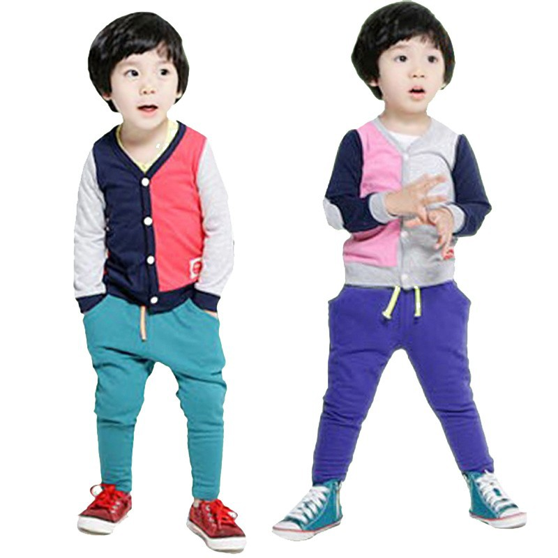 Color Matching Cardigan Pants Suit Child Boy Clothing Sets Children Clothes Set