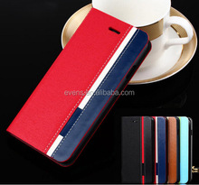 Contrast color Fashion PU Leather Wallet Flip Mobile Phone Case Cover For Lenovo A660